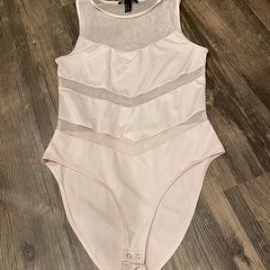 Pale Pink Mesh Forever 21 Bodysuit Size Medium
